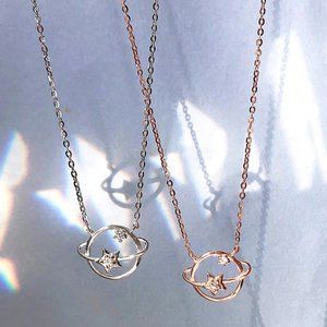 *Rose Gold/Sterling Silver Diamond Planet Necklace